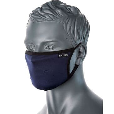 Portwest CV33 - 3-Ply Anti-Microbial Fabric Face Mask (Navy)