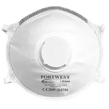 Portwest P304 FFP3 Valved Dolomite Light Cup Respirator (Box of 10)