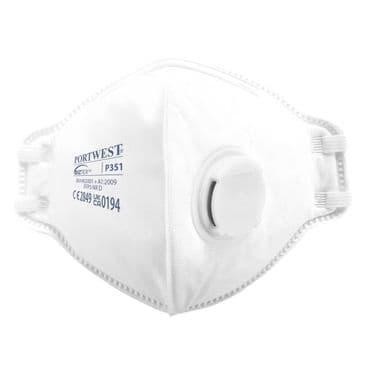 Portwest P351 FFP3 Valved Dolomite Fold Flat Respirator (Box of 20)