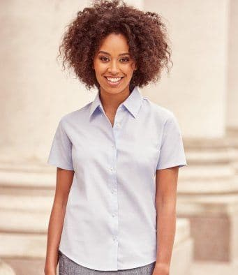 Russell 933F Ladies Short Sleeve Easy Care Oxford Shirt