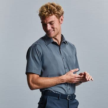 Russell 935M Short Sleeve Easy Care Poplin Shirt
