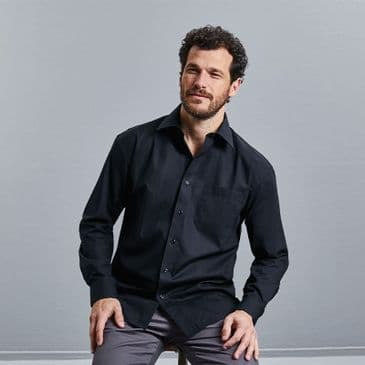 Russell 936M Long Sleeve Easy Care Cotton Poplin Shirt