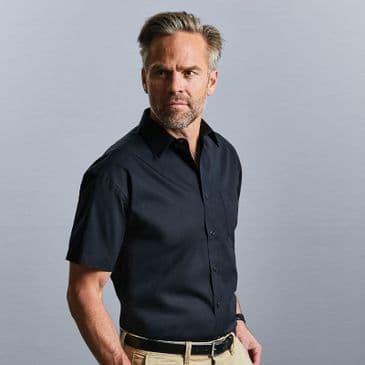 Russell 937M Short Sleeve Easy Care Cotton Poplin Shirt