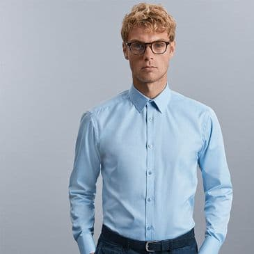 Russell 962M Long Sleeve Herringbone Shirt
