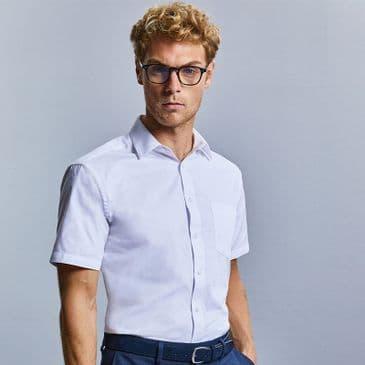 Russell 973M Short Sleeve Easy Care Cotton Poplin Shirt