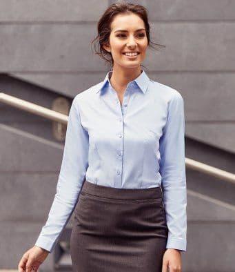Russell Collection Ladies Long Sleeve Herringbone Shirt (962F)