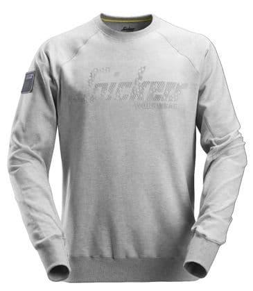 Snickers 2882 Crew Neck Logo Sweatshirt (Light Grey)