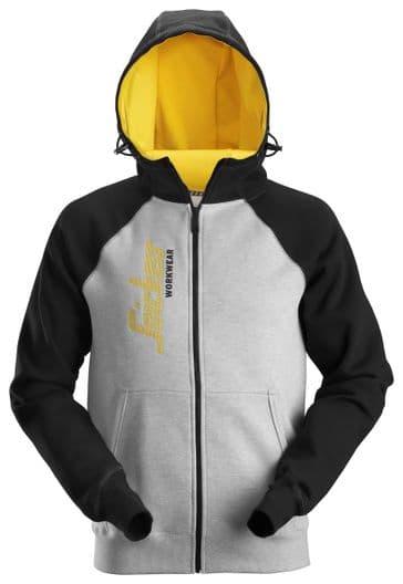 Snickers 2888 AllroundWork Logo Full Zip Hoodie (Grey Melange / Black)