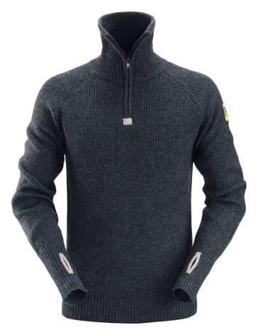 Snickers 2905 AllroundWork Zip Neck Wool Sweater (Navy)