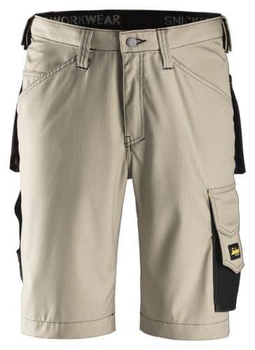 Snickers 3123 Ripstop Craftsmen Shorts (Khaki / Black)