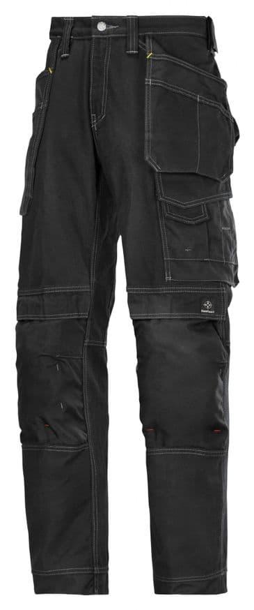 Snickers 3215 Comfort Cotton Craftsmen Holster Pocket Trousers (Black / Black)