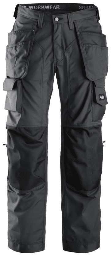 Snickers 3223 Rip-Stop Floorlayer Holster Pocket Trousers (Steel Grey / Black)