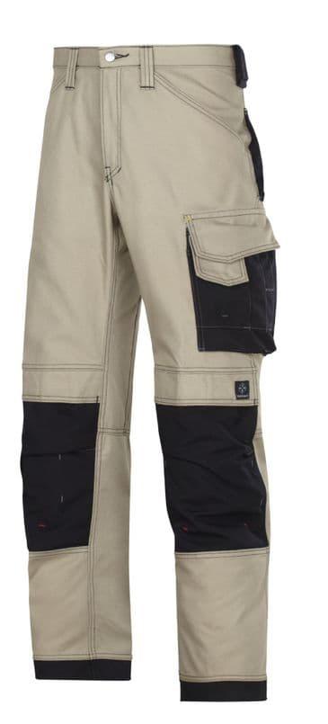 Snickers 3314 Canvas+ Craftsmen Trousers (Khaki/Black)
