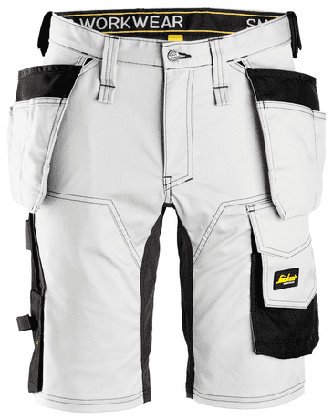 Snickers 6141 AllroundWork Stretch Shorts Holster Pockets (White/Black)