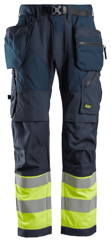 Snickers 6931 FlexiWork High-Vis Work Trousers+ Holster Pockets (Navy / Hi Vis Yellow)