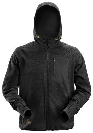 Snickers 8041 FlexiWork Fleece Hoodie (Black/Black)