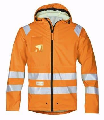 Snickers 8233 High-Vis PU Rain Jacket, Class 3 (High Vis Orange)