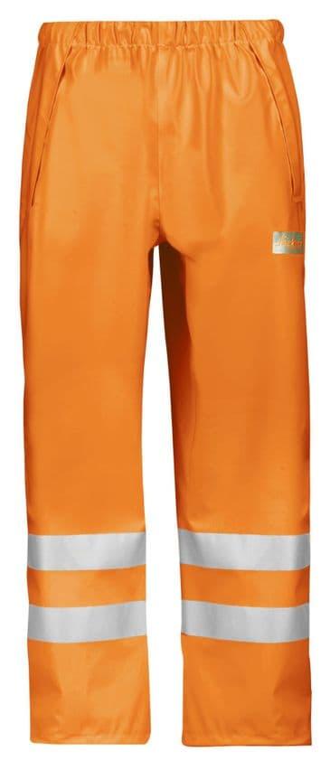 Snickers 8243 High-Vis PU Rain Trousers, Class 2 (High Vis Orange)