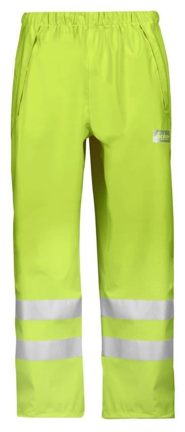 Snickers 8243 High-Vis PU Rain Trousers, Class 2 (High Vis Yellow)