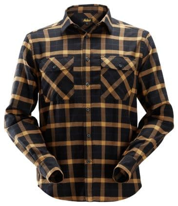 Snickers 8516 AllroundWork Flannel Checked Long Sleeve Shirt (Black/Brown)