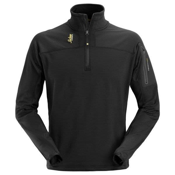 Snickers 9435 Body Mapping Half Zip Micro Fleece Pullover | Black | TuffShop.co.uk