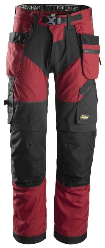 Snickers FlexiWork 6902 Work Trousers with Holster Pockets (Chili Red/Black)